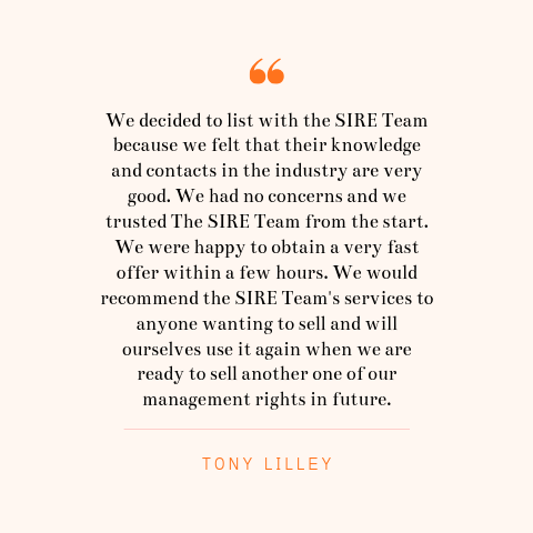 Tony Lilley Seller Testimonial | SIRE Management Rights | management rights for sale, buy management rights,management rights brisbane,management rights qld,management rights for sale,caravan parks for sale,resort for sale,resorts for sale,management rights gold coast, 物业管理权方程式, 卖物业管理权, 买物业管理权,物业管理权, sire management rights, hotel for sale, motel for sale, buy management rights, sell management rights, APMA, ARAMA, ABMA, Management and Letting Rights, MLR brokers, MLR broker, accommodation business transactions, management letting rights, management rights training, operate management rights, synergy international management rights